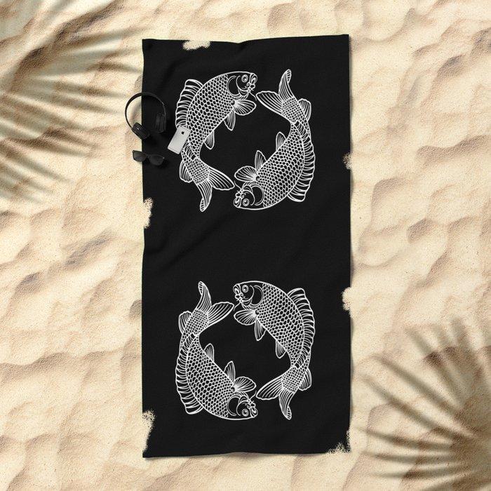 Black White Koi Beach Towel