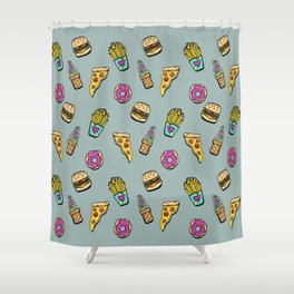 Fast Food Heaven Illustrated Pattern Shower Curtain