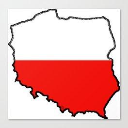 Poland Map with Polish Flag Canvas Print