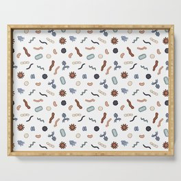 Vintage Microbiology - Black Outlines on White Serving Tray