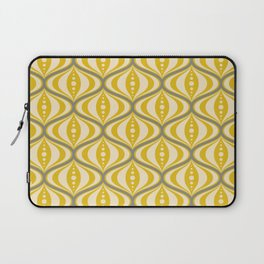 Retro Mid-Century Saucer Pattern in Yellow, Gray, Cream Laptop Sleeve