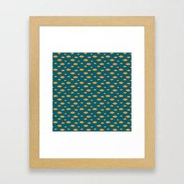 Mid Century Modern Fish in Gold on Teal Framed Art Print