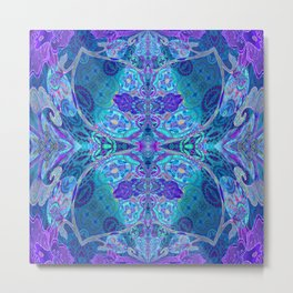 Inner Lantern Indigo Mandala Metal Print