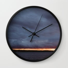 Sliver of Sunset over Portage Lake Wall Clock