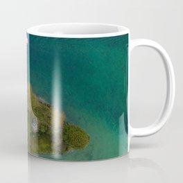 königssee waterfall alps bayern forrest drone aerial shot nature wanderlust boat mountains island Coffee Mug