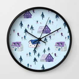 Christmas skaters Wall Clock