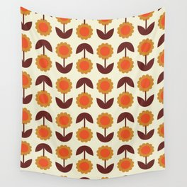 Retro 70s Wallpaper Flowers Wall Tapestry
