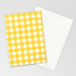 White & Yellow Gingham Pattern Stationery Cards