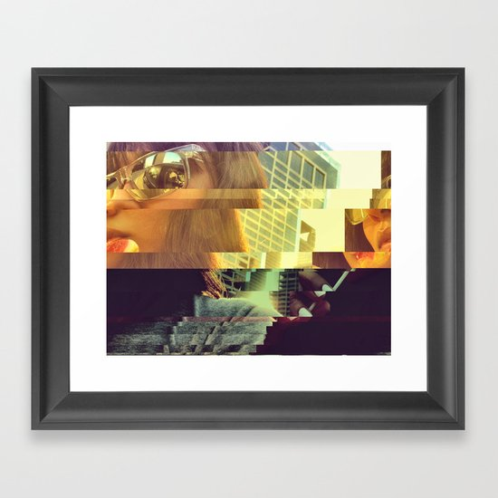 Glitch Pop Framed Art Print