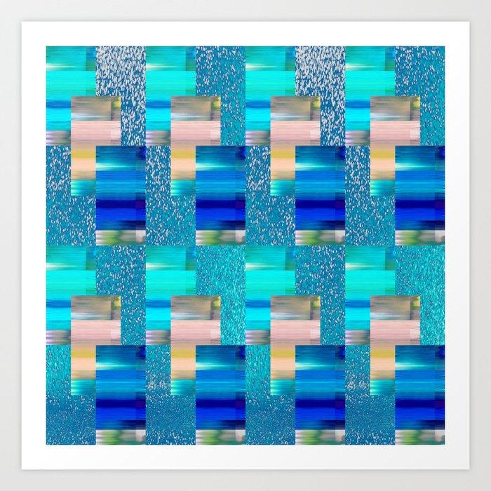 Geometric Glitter Rectangle Dimension in Cool Hues Art Print