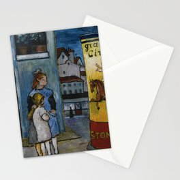 Marianne Werefkin 1860 - 1938  (TWO CHILDREN IN FRONT OF A BILLBOARD FOR GRAND CIRQUE) Stationery Cards