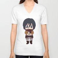 shingeki no kyojin V-neck T-shirts featuring Shingeki no Kyojin - Chibi Mikasa Flats by Tenki Incorporated