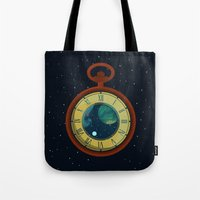 pocket Tote Bags featuring Cosmic Pocket Watch by badOdds