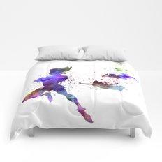 Peter Pan in watercolor Comforters