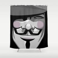 vendetta Shower Curtains featuring Vendetta by BiggStankDogg