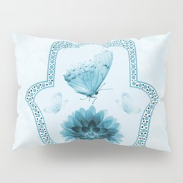 Butterfly Lotus Blue Hamsa Hand Pillow Sham