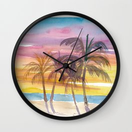 Palms At The Beach in Golden Sunset Mood Wall Clock
