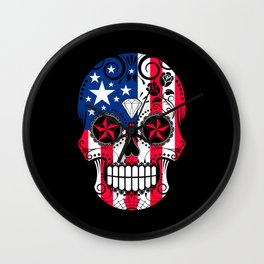 Sugar Skull with Roses and Flag of The United States Wall Clock
