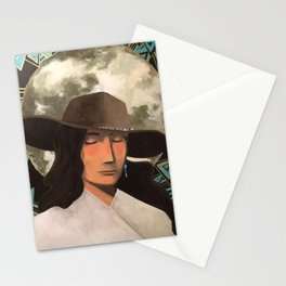 Portrait of A Southwestern Traveler with The Moon & Geometric Shapes In The Background Stationery Cards