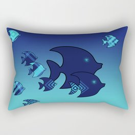 Nine Blue Fish with Patterns Rectangular Pillow