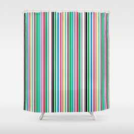 Rainbow Vertical Stripes by Beebus Marble Shower Curtain