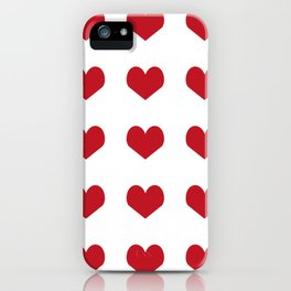 Hearts pattern red and white minimal modern essential valentines day gifts for anyone love iPhone Case
