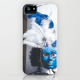 Blue carnival mask in Venice iPhone Case