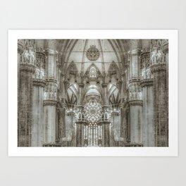 Black and White Milan Duomo Cathedral Interior View Art Print