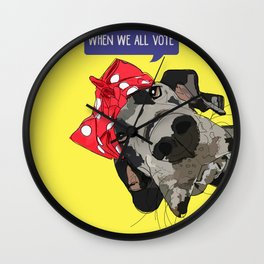 Political Pups - When We All Vote Great Dane Wall Clock