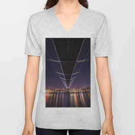 Millennium Bridge London England Unisex V-Neck