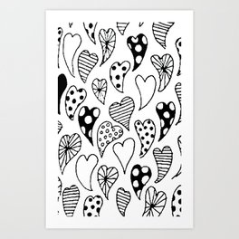 Patterned hearts Art Print