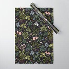 Herbarium ~ vintage inspired botanical art print ~ black Wrapping Paper