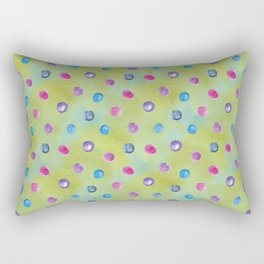 Watercolor washed yellow aqua blue with hot pink and teal drops Rectangular Pillow