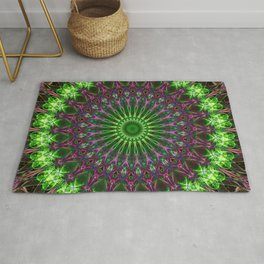 Mandala in green and violet tones Rug
