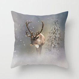 Santa Claus Reindeer in the snow Throw Pillow