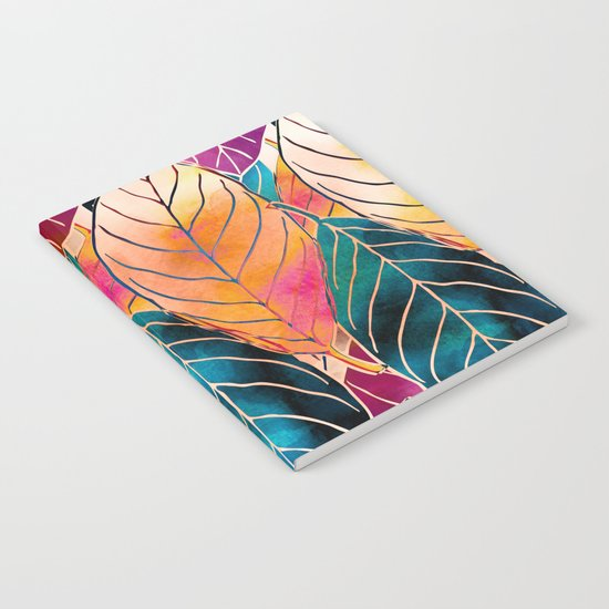 Colorful Leaves Pattern Notebook
