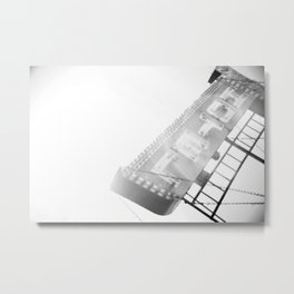 Minimalist Hotel Sign - Black & White Metal Print