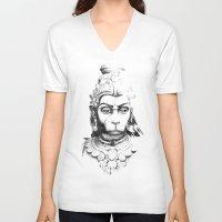 hindu V-neck T-shirts featuring Hindu deity by ZUBNORMAL