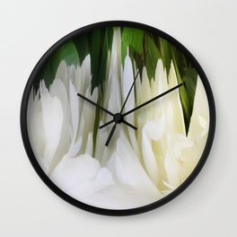501 - White Peony Abstract Wall Clock