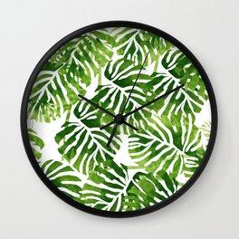 Tropical Leaves - Green Wall Clock