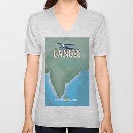 River Ganges Map Unisex V-Neck