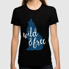Wild & Free - Navy Howling Wolf T-shirt