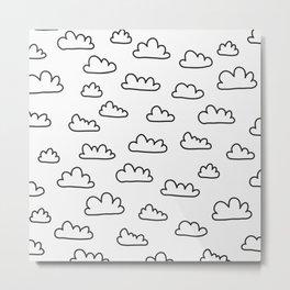 Scandinavian Clouds Black Metal Print