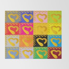 Gold Hearts on colorful Stamp Throw Blanket