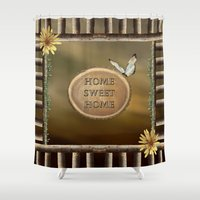 home sweet home Shower Curtains featuring Home Sweet Home by LLL Creations