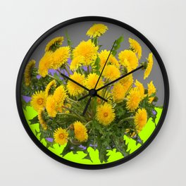 Yellow Dandelions Grey- Chartreuse Colored Art Wall Clock