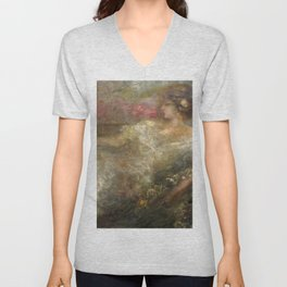 Woman lying on a day bed floral portrait painting by  Lajos Gulácsy Unisex V-Neck