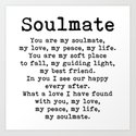 You are my soulmate, love poem by theartshed