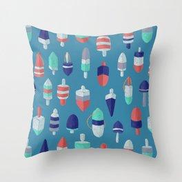 Lobster Buoys RBW on ocean blue Throw Pillow