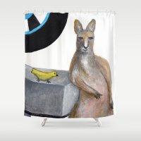 kangaroo Shower Curtains featuring Kangaroo by Big AL